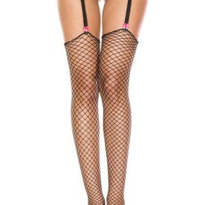 Music Legs Mini Diamond Net Thigh High Stockings Black One Size