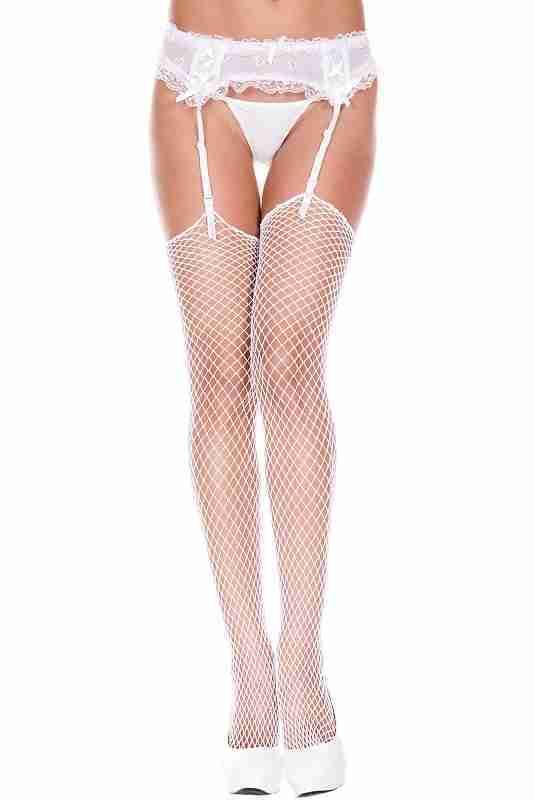 ML4936 Music Legs Mini Diamond Net Stockings White One Size