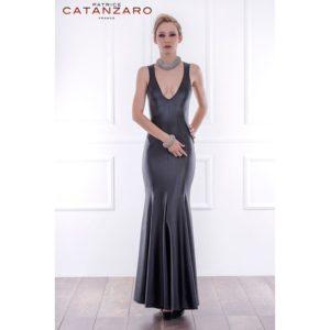 Patrice Catanzaro Bianca Wet-Look Gown