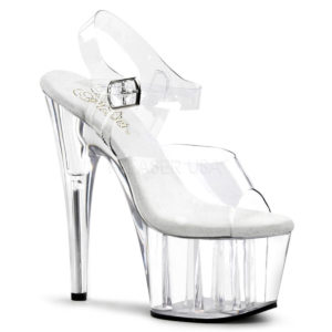 "PLEASER Adore-708 7"" Heel Platform Shoe Clear/Clear"
