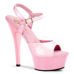 """PLEASER Kiss-209 6"""" Heel Platform Shoe Baby Pink Patent/Baby Pink"""
