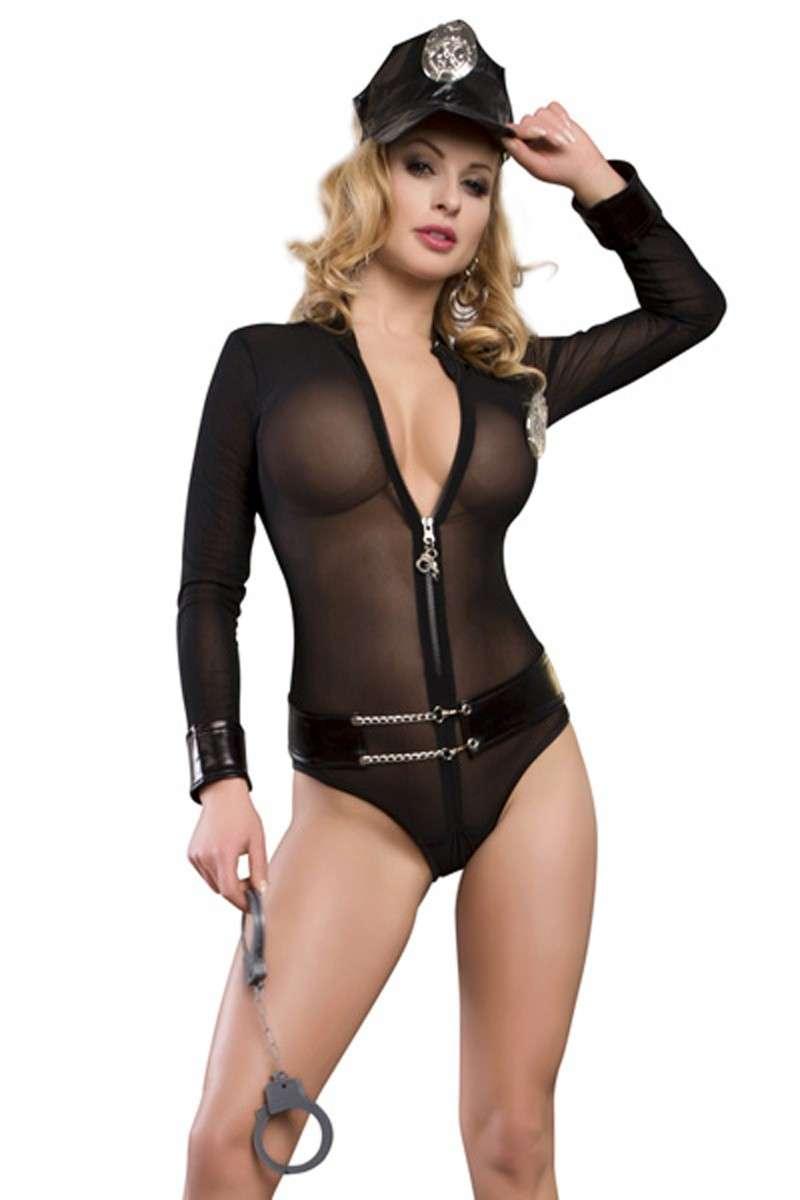 Play & Pleasure Police Mesh Teddy L/sleeve Costume