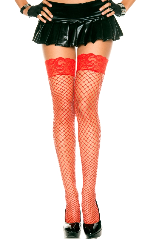 ML49317 Music Legs Silicone Lace Top Diamond Net Thigh High Stockings Red One Size