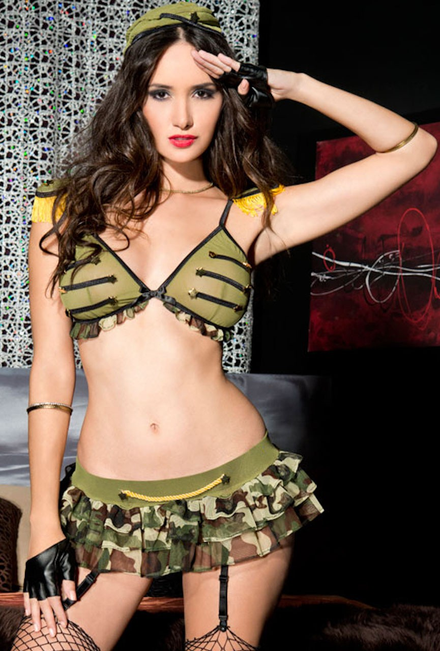 ML70598 Music Legs Military Babe 4pc Costume One Size FV