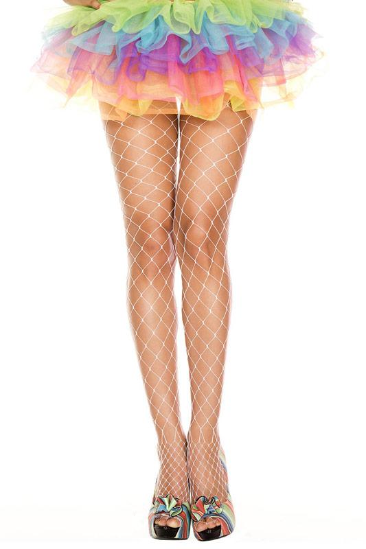 ML9024 Music Legs Diamond Net Pantyhose White One Size