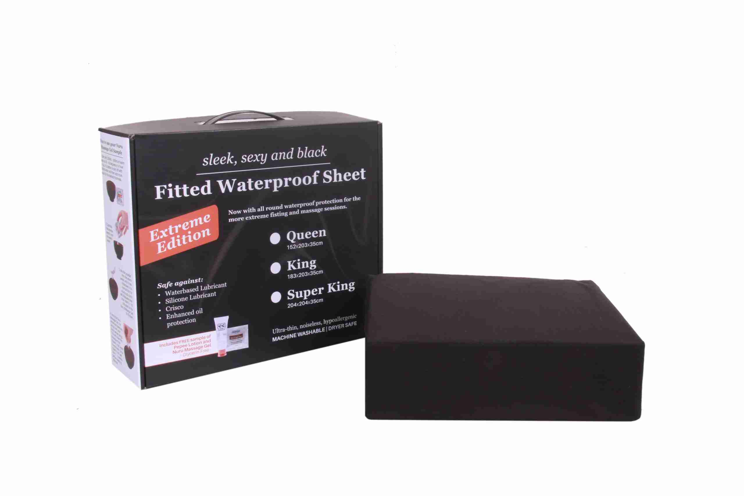 Eroticgel Australia Extreme Edition Black Waterproof Bedding Fitted Sheet