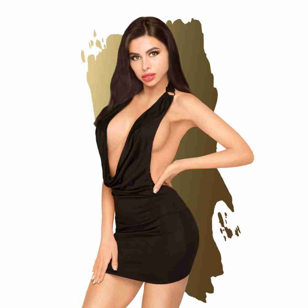 PENTHOUSE HEART ROB MINI DRESS BLK FV