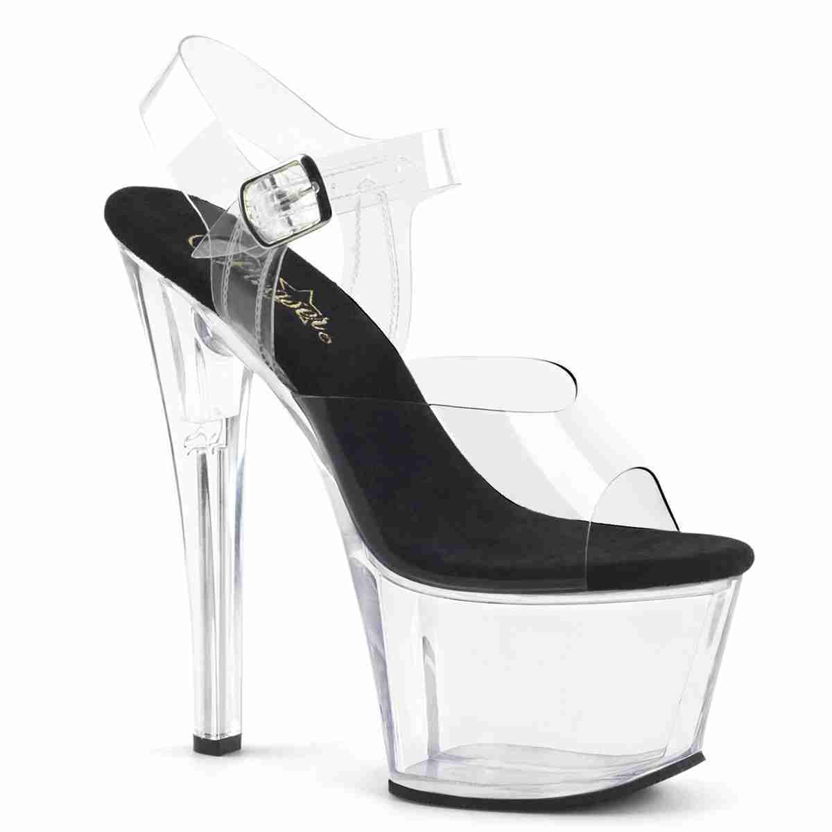 PLEASER Sky-308 7 Inch Heel Platform Shoe Clear-Black Clear